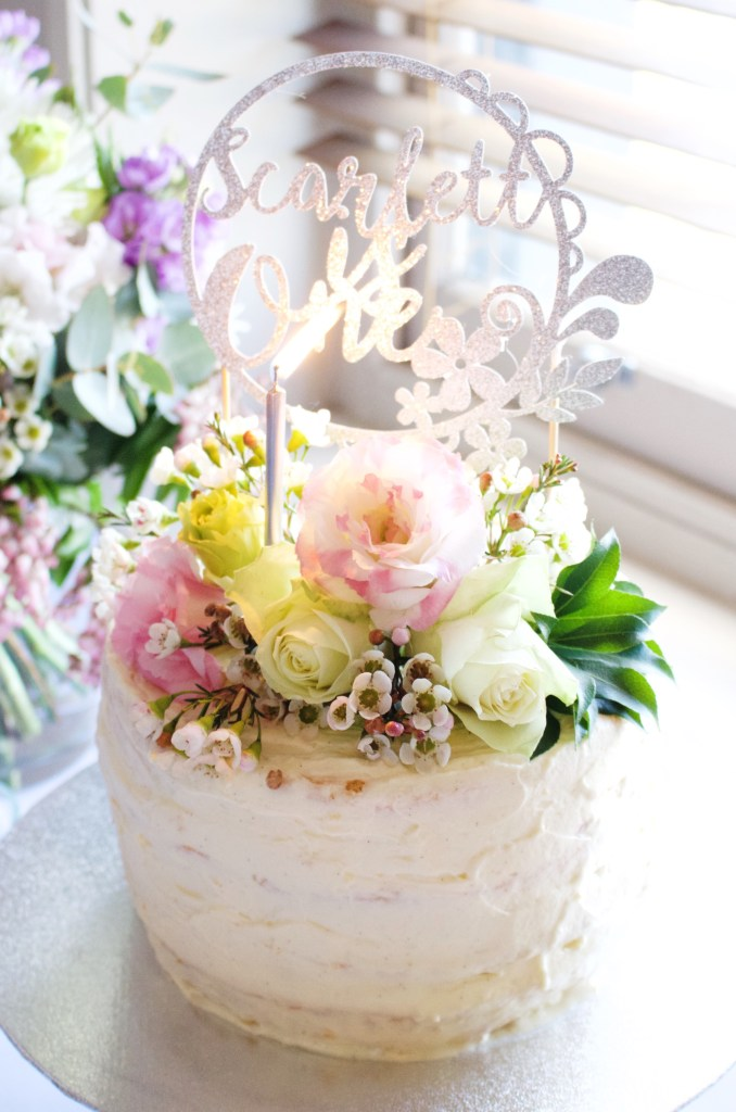 first birthday party sponge cake number one cake topper lavender honey and co winter florals