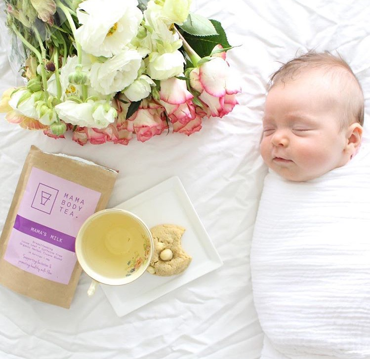 swaddled-newborn-baby-breastfeeding-tea-lactation-cookies