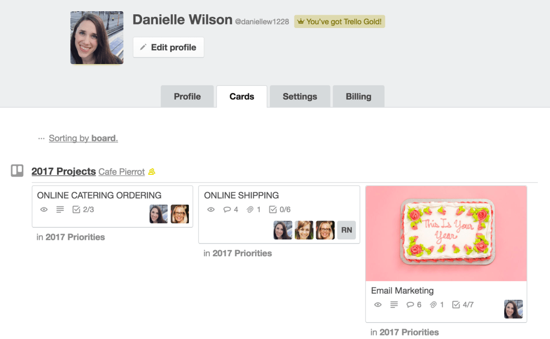 Viewing all the Trello cards assigned to you in profile view