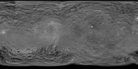 Mapa de Ceres donde se ven los principales grupos de manchas blancas (unmannedspaceflight.com).