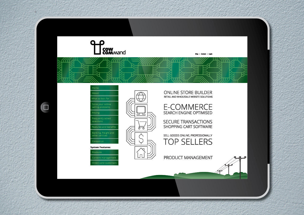 Website Design for a small business CowCommand displayed on a tablet