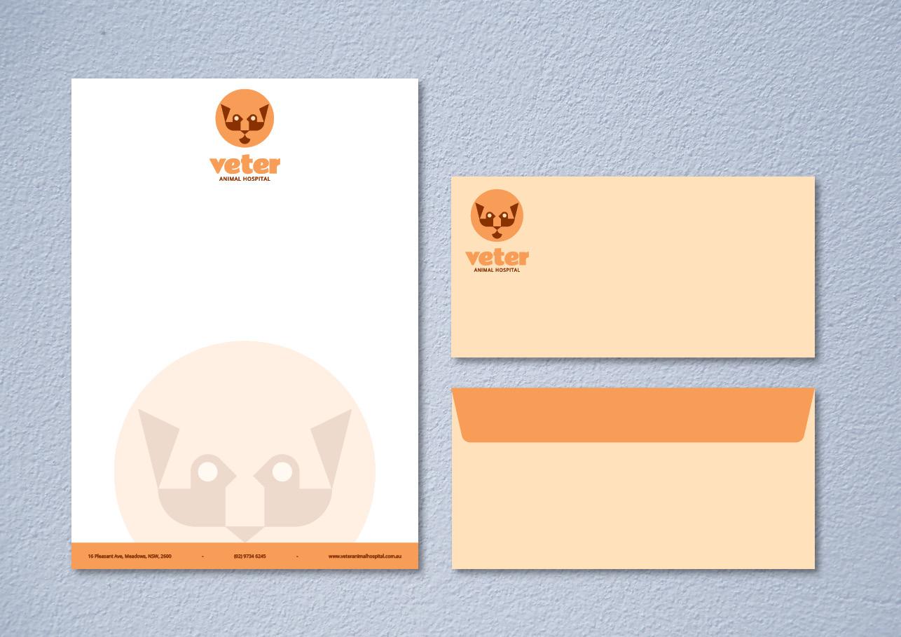 Letterhead Envelope Collateral Design for Veter Animal Hospital