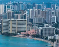 Waikiki and its surroundings (Royal Hawaiian Hotel in pink).