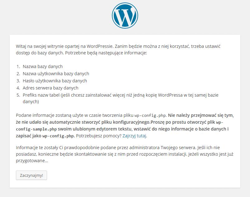 Konfiguracja WordPress, ekran powitalny.