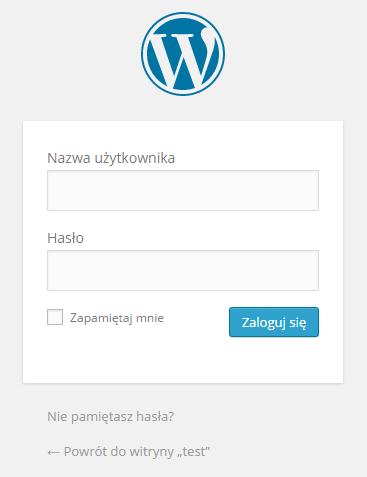 Panel logowania WordPress.