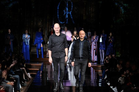 NEW YORK, NY - FEBRUARY 11: Designers Charles Borg and Ron van Maarschalkerweerd walk the runway during Charles and Ron at New York Fashion Week Art Hearts Fashion NYFW FW/17 at The Angel Orensanz Foundation on February 11, 2017 in New York City. (Photo by Arun Nevader/Getty Images for Art Hearts Fashion)