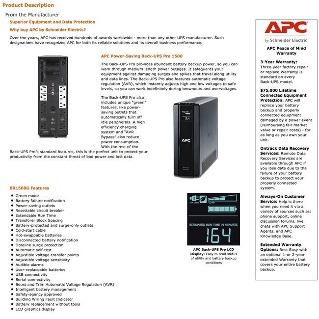 APC Amazon A+ Page - Information