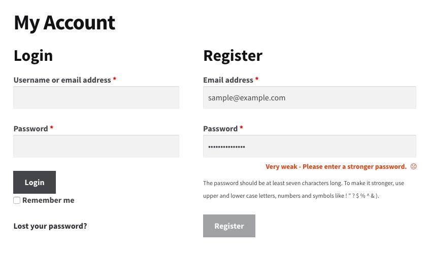 WooCommerce Password Strength Meter