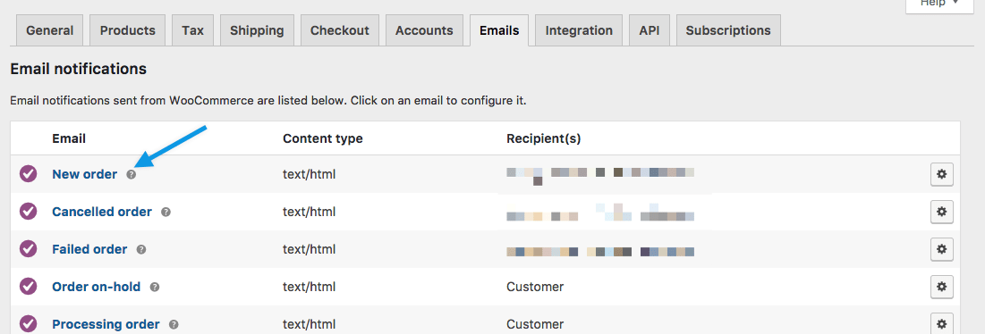New Order Email in WooCommerce Settings