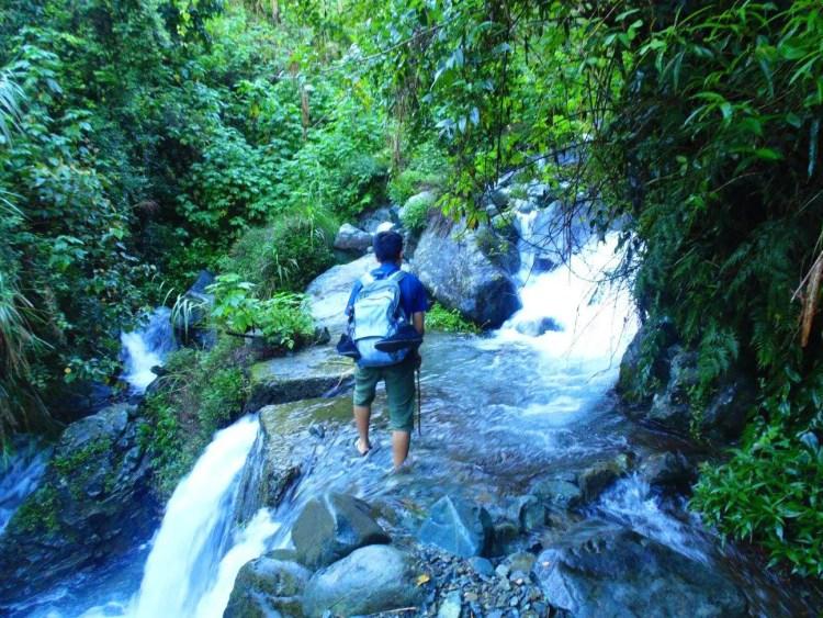 Crossing a brook to Humuyyo Falls.