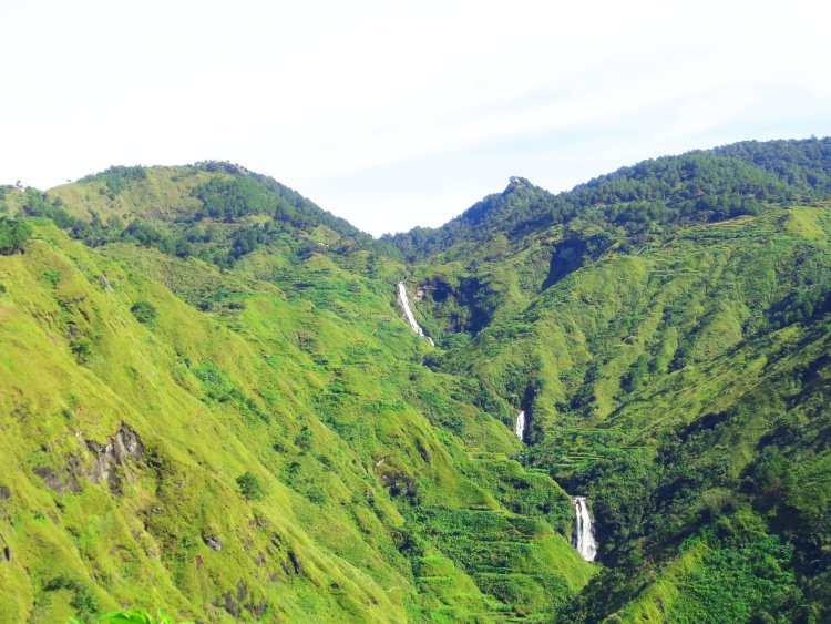 Tres Marias Falls as viewed from Poblacion, Bakun, Benguet.