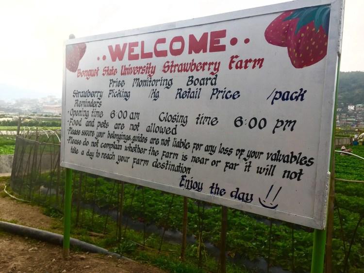 A signage near La Trinidad Strawberry Farm