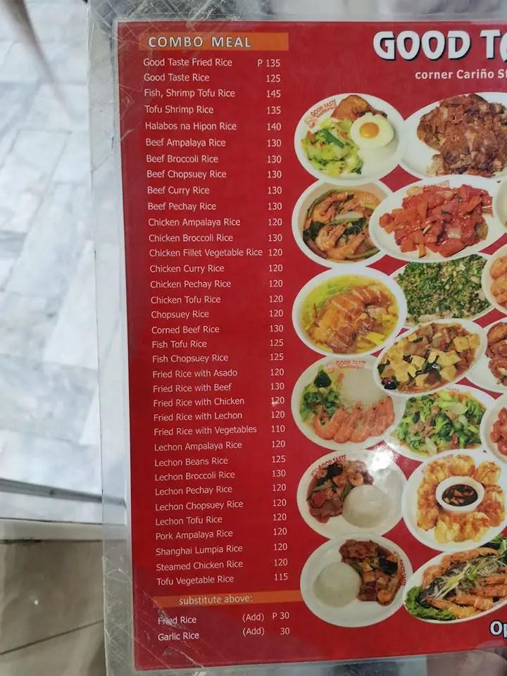 Menu at Good Taste Baguio