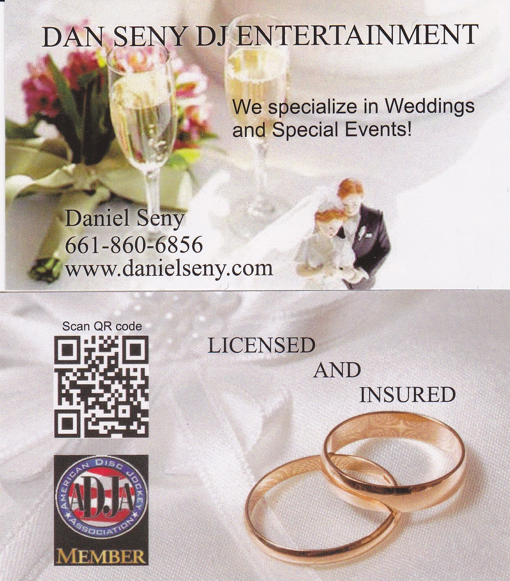 Wedding dj business card wedding mc weddings wedding dj business card reheart Image collections