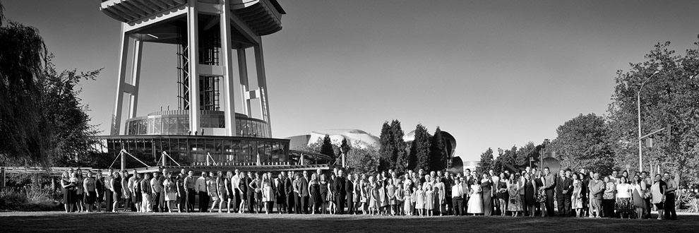Wedding Portrait of a large group at  Seattle Space Needle Wedding