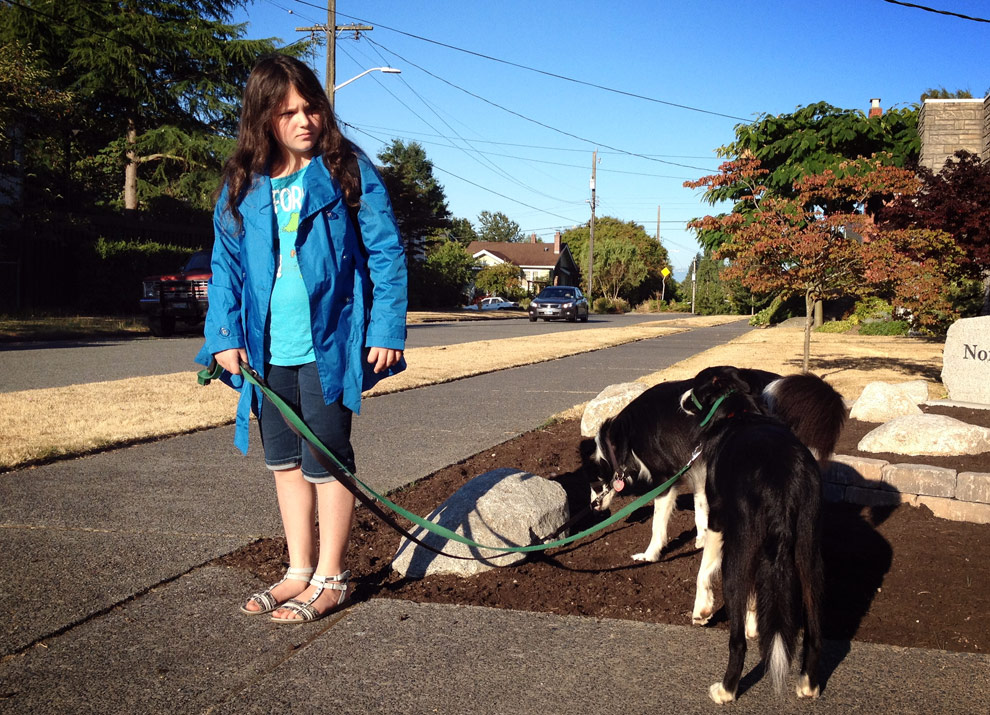A 5th grader walking to her first day of school with her 2 dogs.