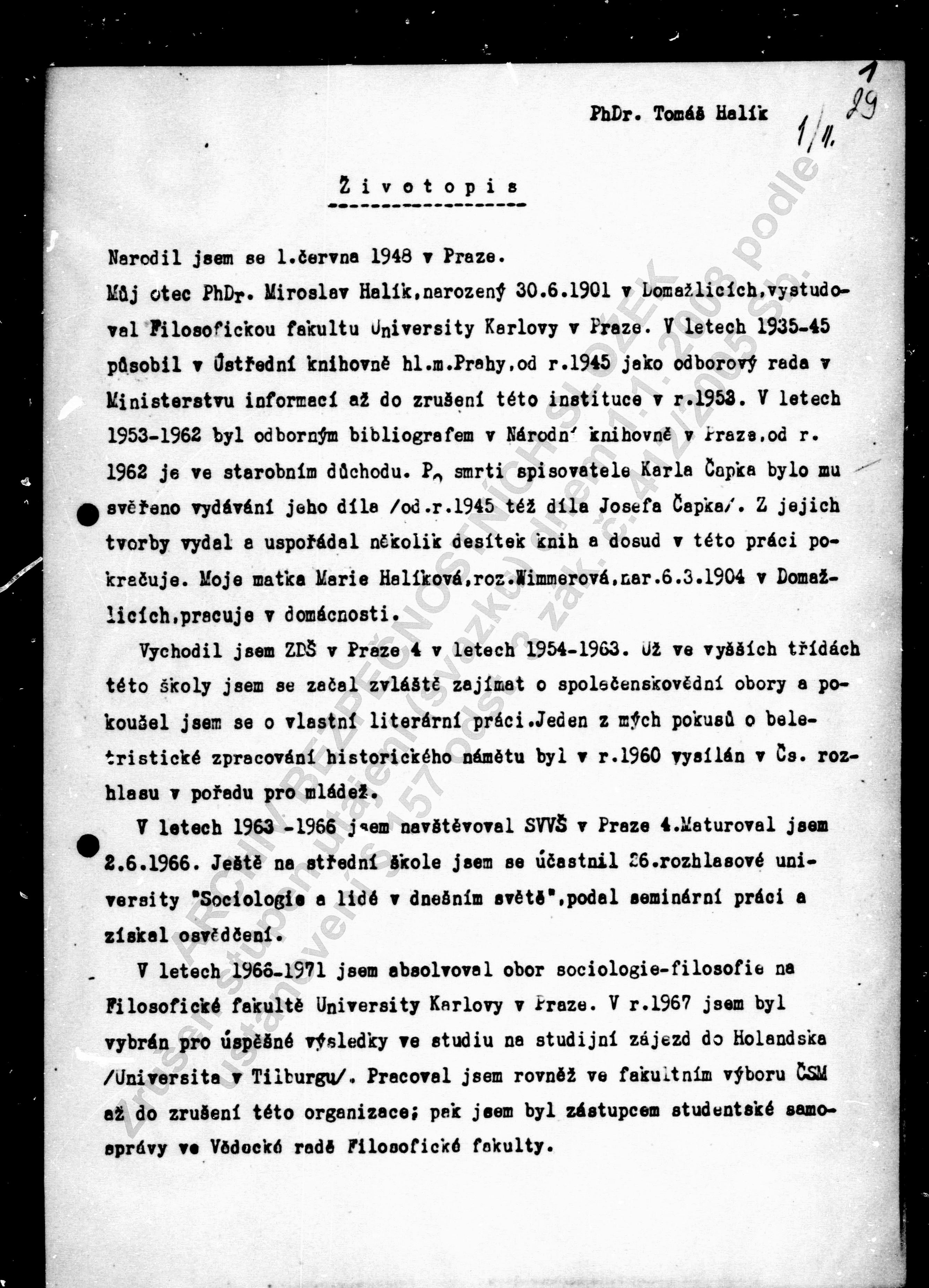 Životopis Halík 1972