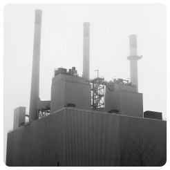 Powerful fog at Blount Generating Station, Madison, Wisconsin