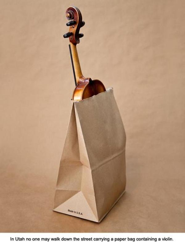 Silly United States laws: No violins can be carried in paper bags