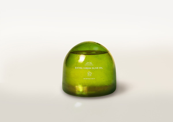 Brilliant olive oil food packaging inspired by its contents