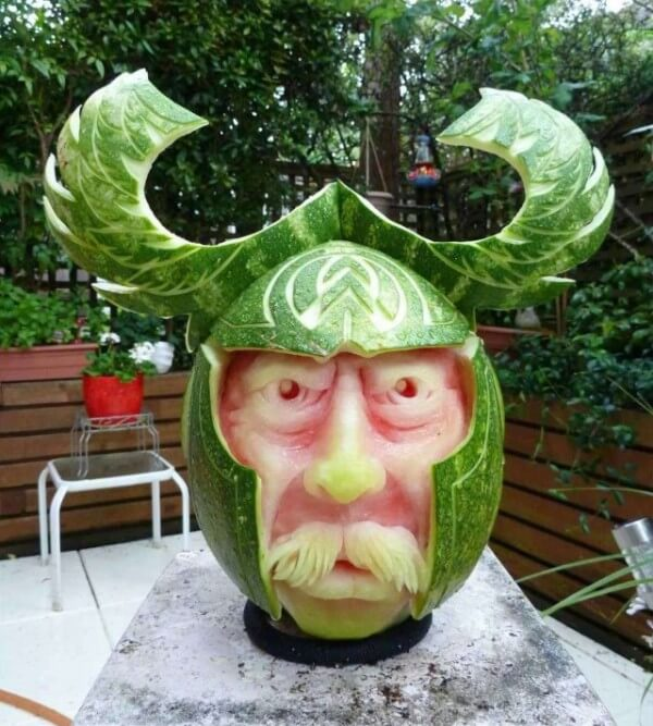 Amazingly detailed sculptures carved out of watermelon