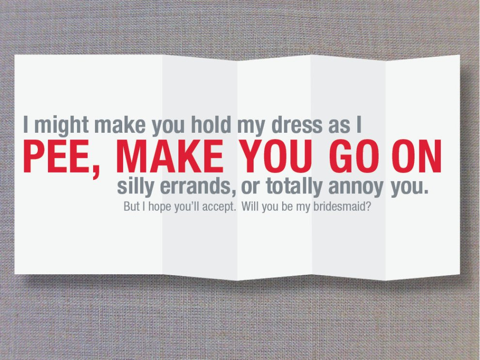 Offensive greeting cards: I might pee on you