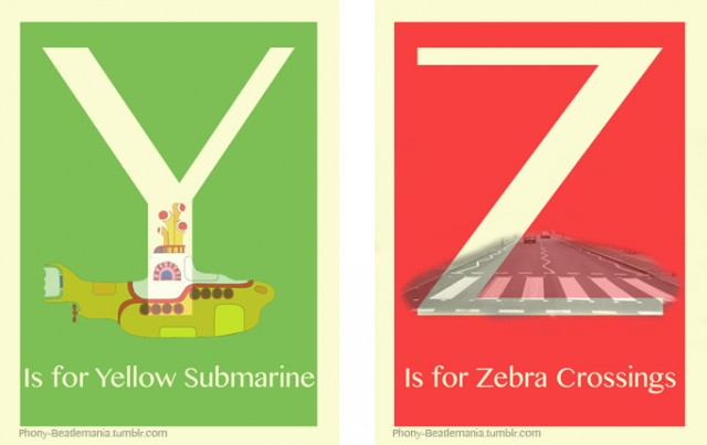 An alphabet poster series inspired by The Beatles: Y Z