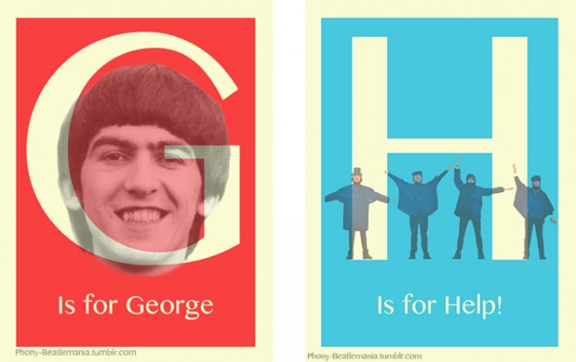An alphabet poster series inspired by The Beatles: G H