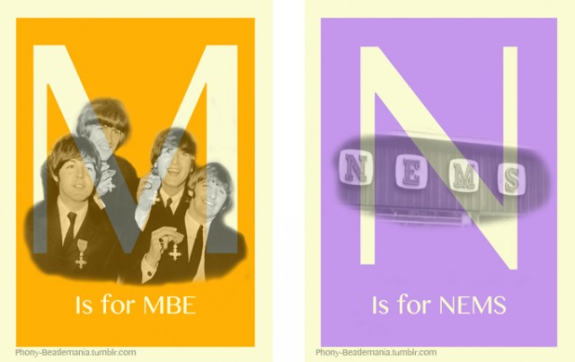 An alphabet poster series inspired by The Beatles: M N