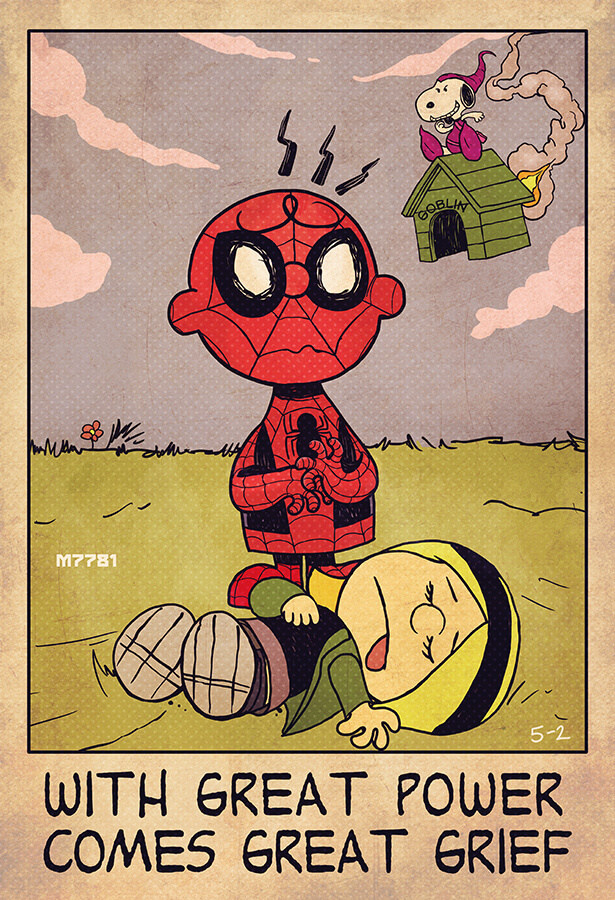 Superhero mashup: Charlie Brown and Spiderman