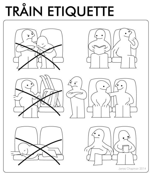 IKEA instructions for train etiquette