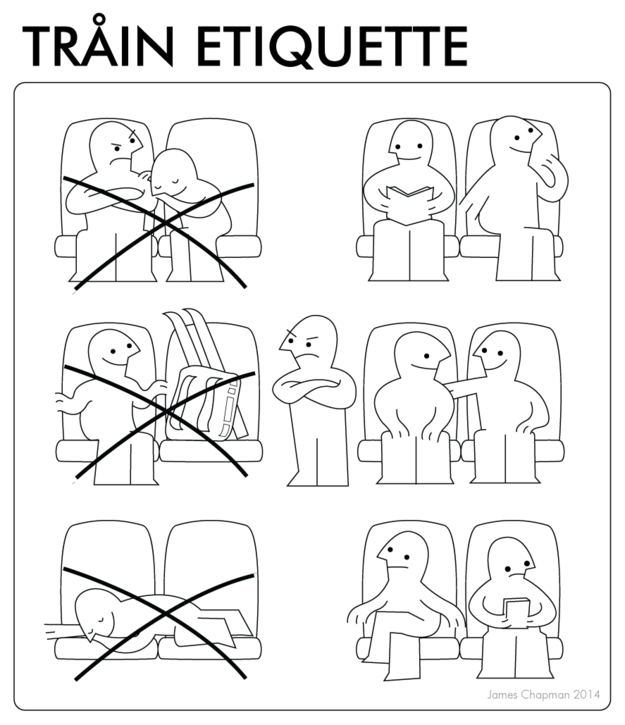 IKEA instructions for train etiquette