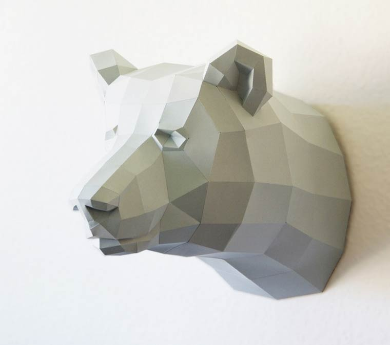 Geometric models of animals made entirely out of paper