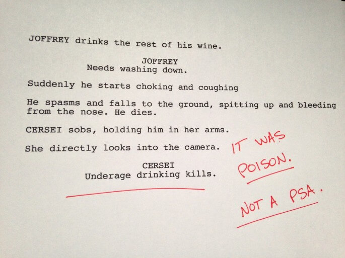 Humorous first drafts of popular movies: Game of Thrones
