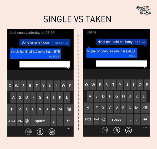 The differences between single and taken men: Texting