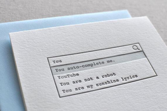 Funny, minimalist letterpress Valentine's Day cards