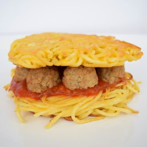 Enjoy a spaghetti and meatball burger for lunch