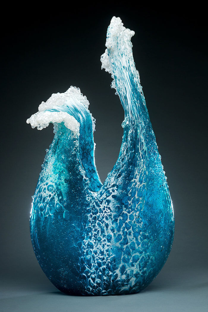 Realistic glass sculptures inspired by ocean waves
