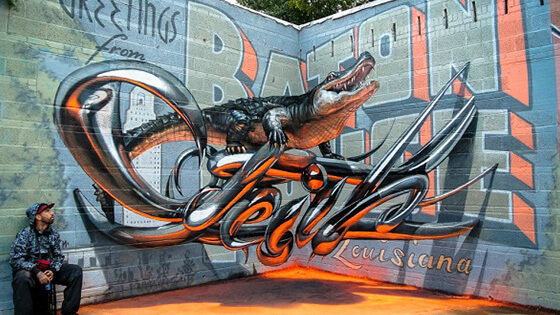 Amazing 3D anamorphic graffiti that appears to be floating