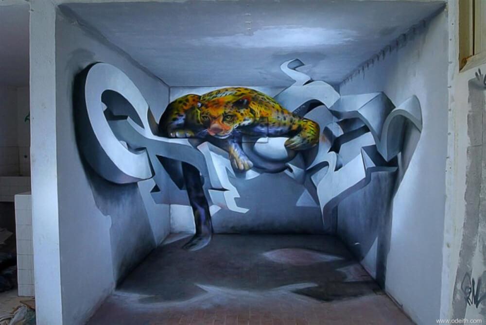 Sergio Odeith 3D anamorphic graffiti