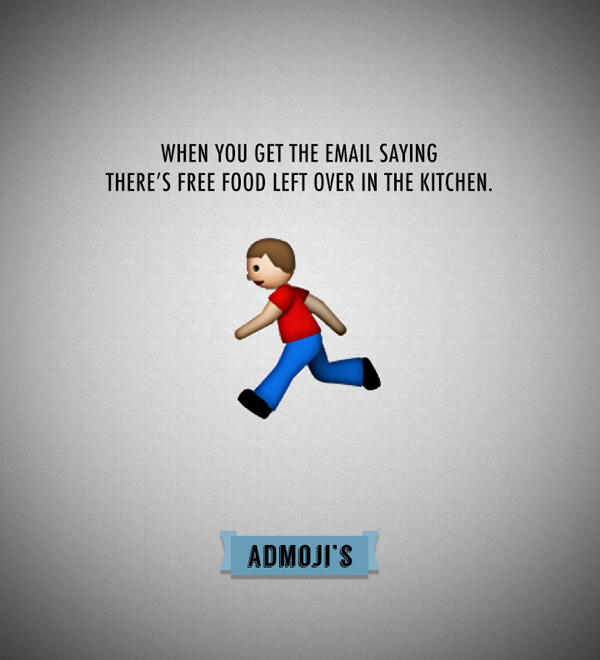 Admojis: When you get the email saying there's leftover food in the kitchen