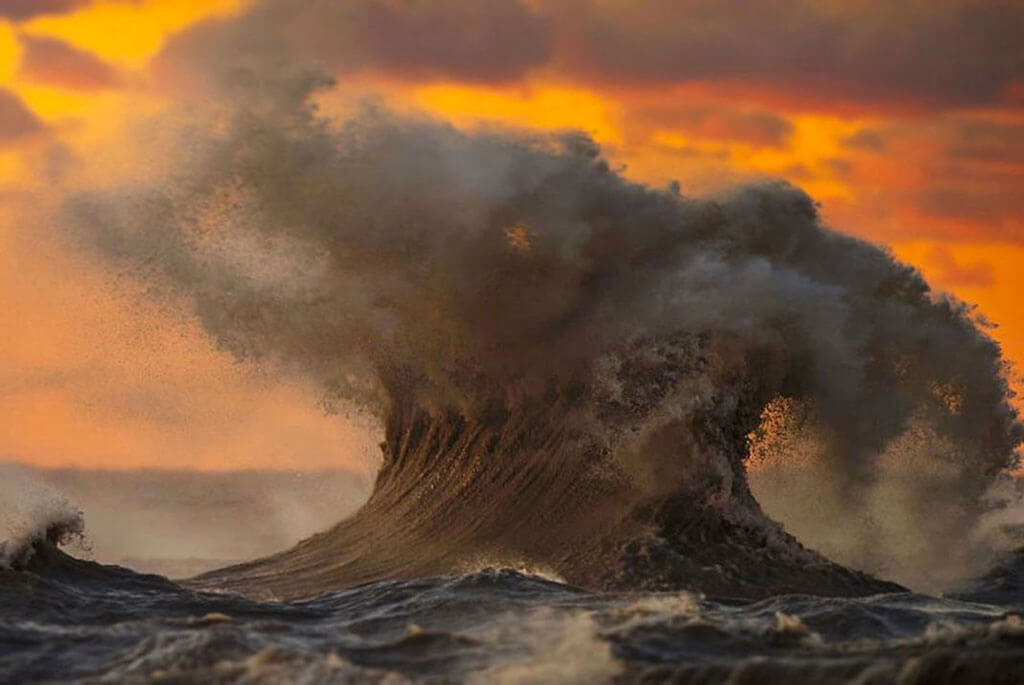 Waves crashing on Lake Erie at sunrise