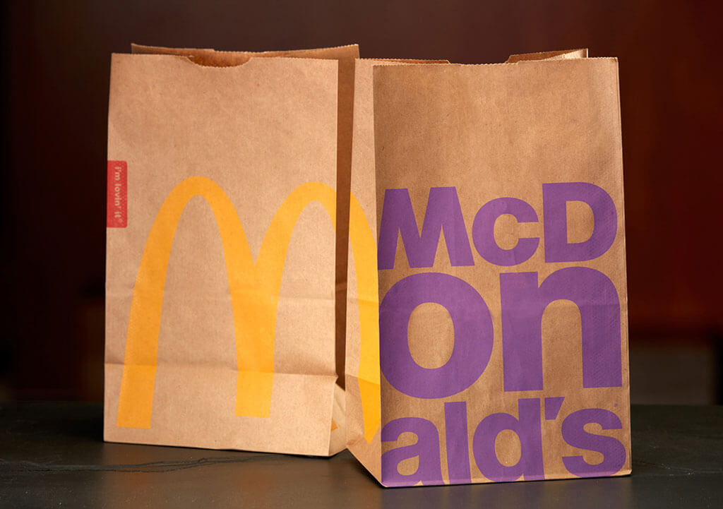 New McDonald's typographic bag design