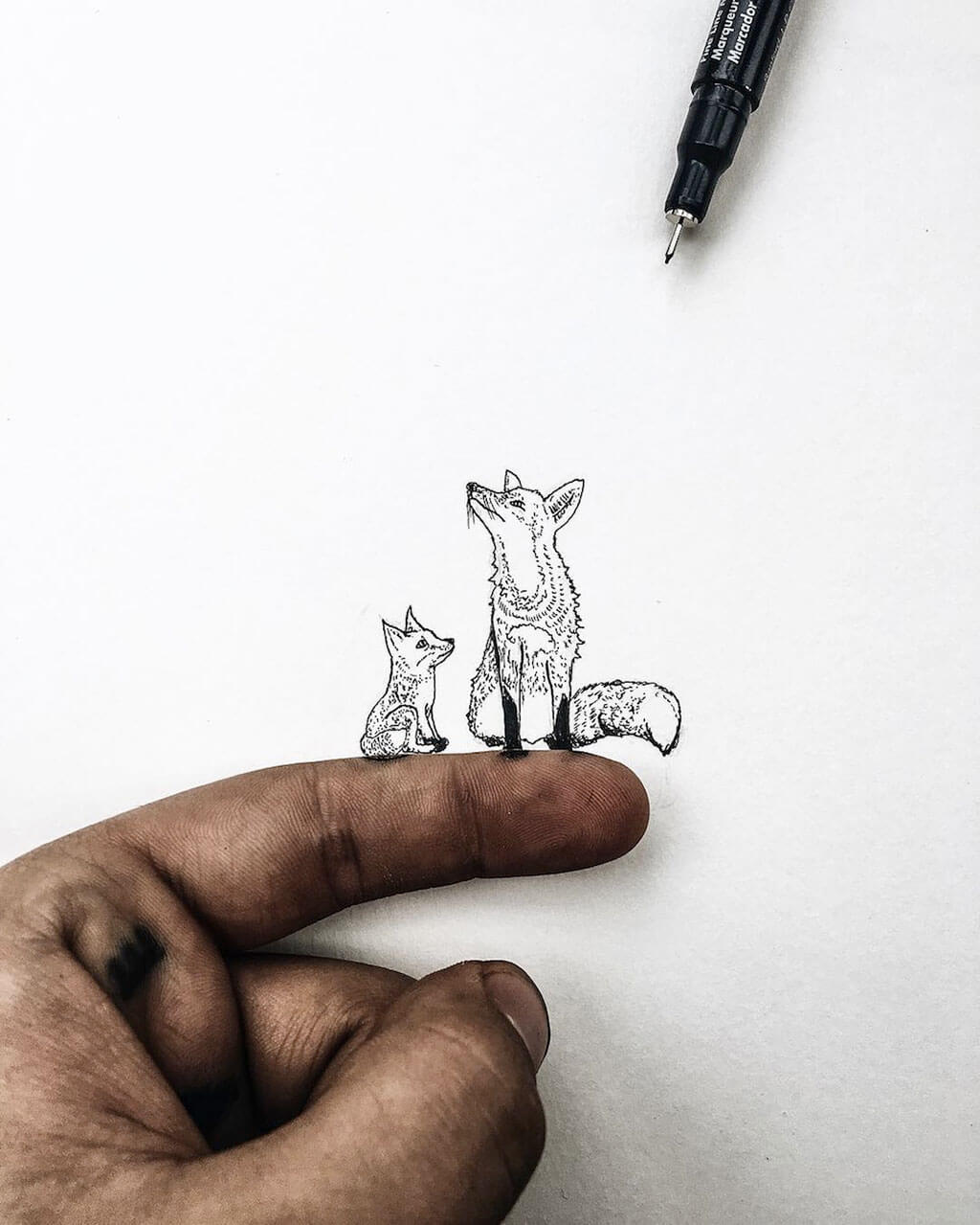 Tiny detailed illustrations the size of pencil tops