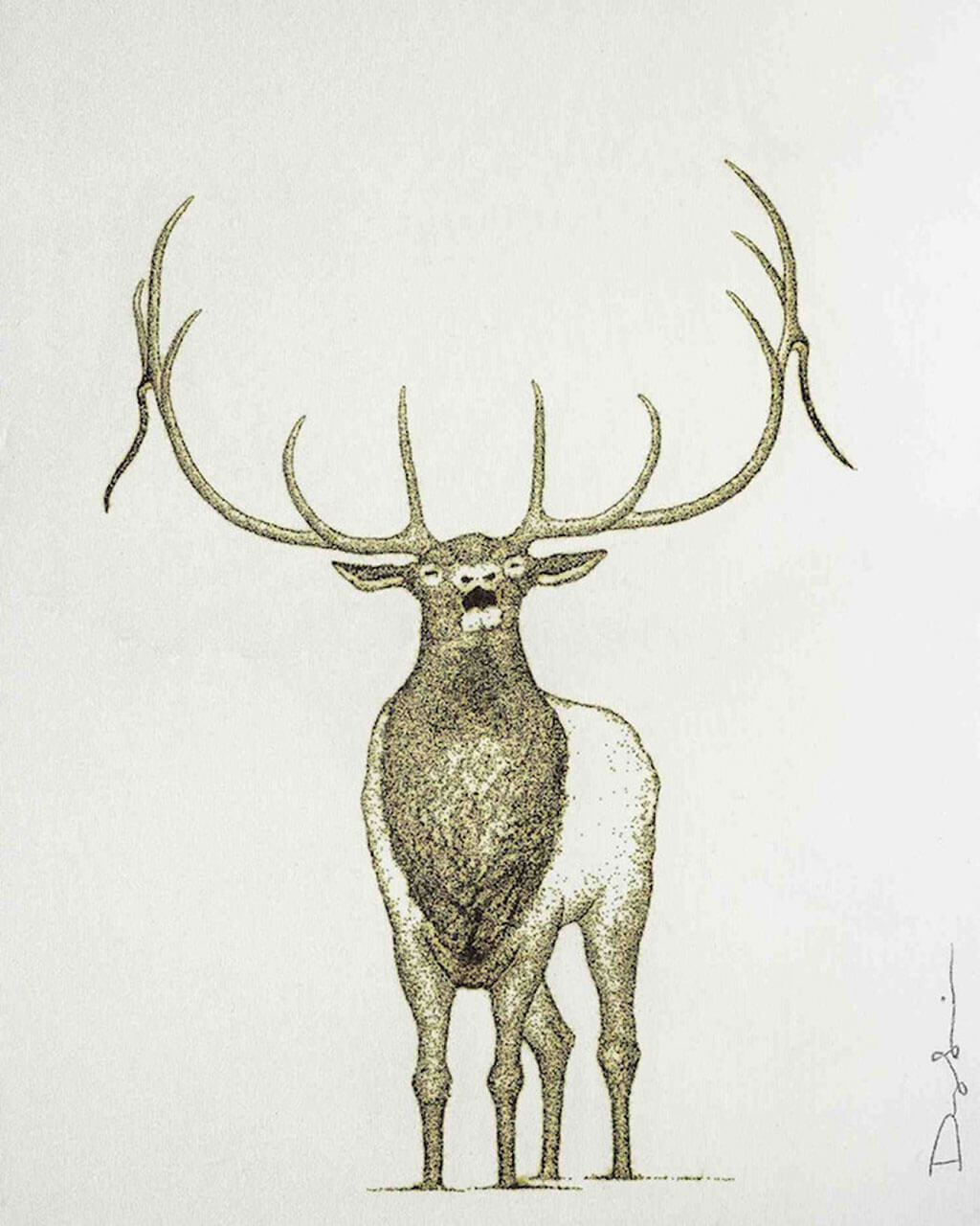 Elk drawing with gunpowder