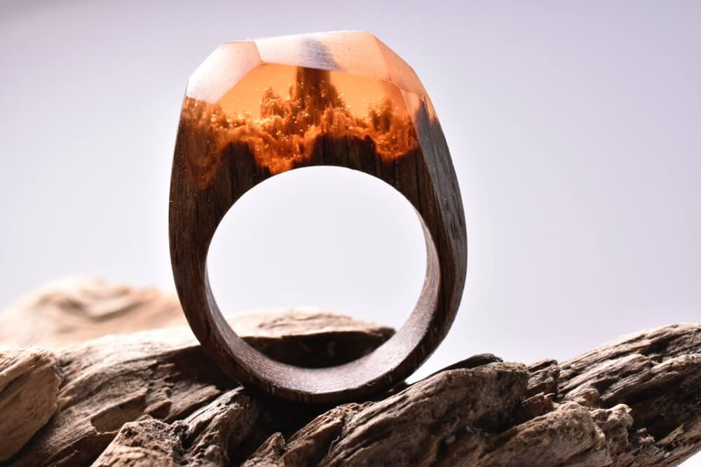 Amber Spirit Forest: Miniature fantasy worlds within wooden rings