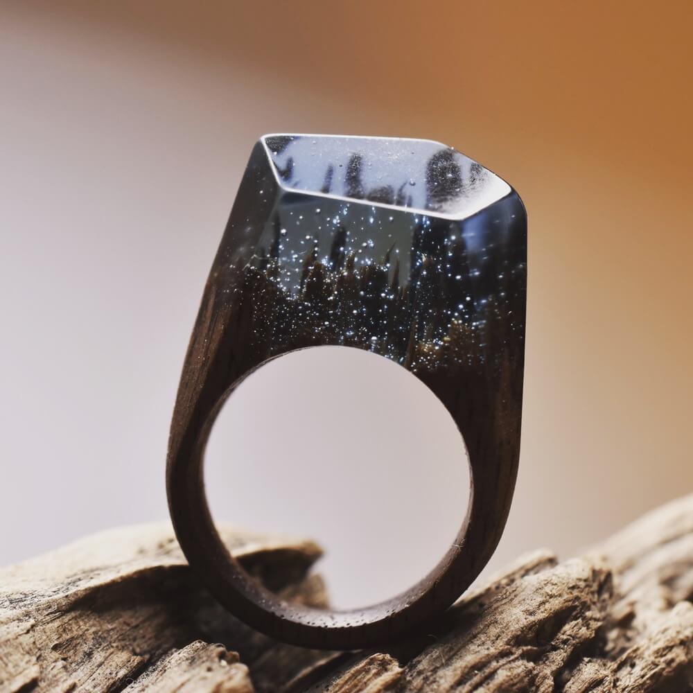 """""""Midnight Snowfall"""" wooden ring"""
