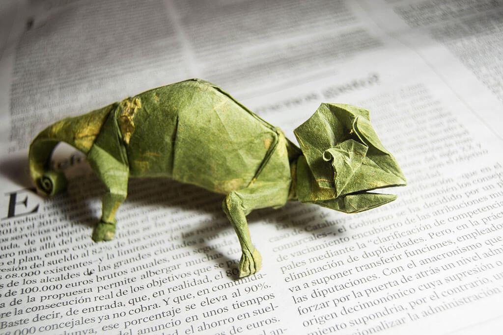 Folded paper lizard
