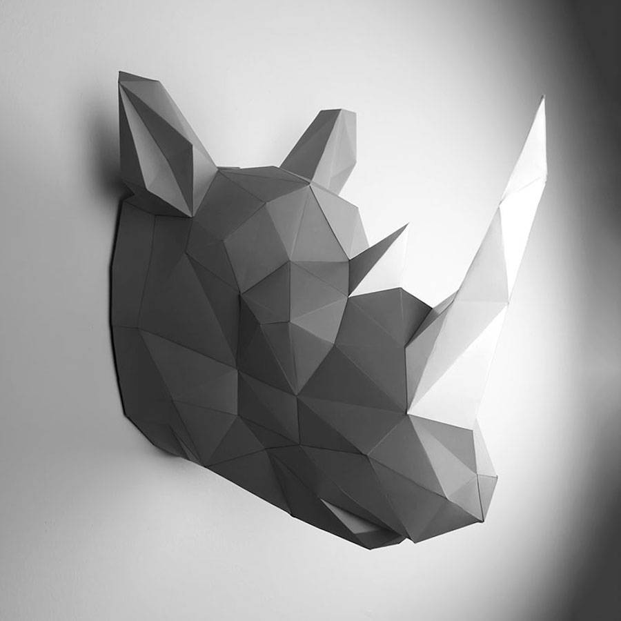 Low polygon animal head trophies made of colored paper ...