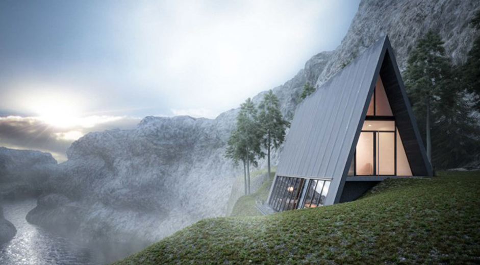 Spectacular triangle mountain cabin sits the edge of a cliff
